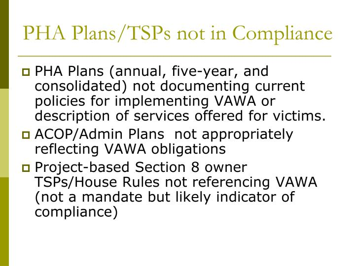 PHA Plans/TSPs not in Compliance