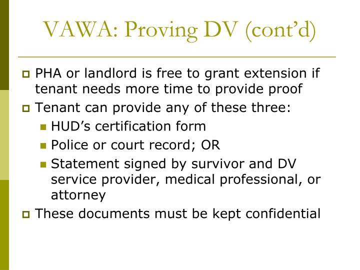 VAWA: Proving DV (cont'd)