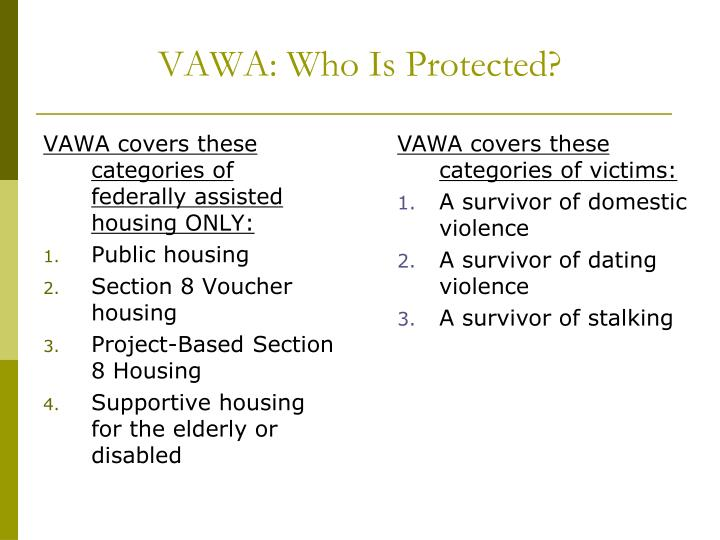 VAWA: Who Is Protected?