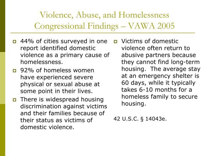 Violence, Abuse, and Homelessness