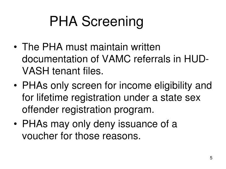 PHA Screening
