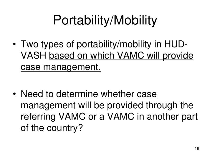 Portability/Mobility