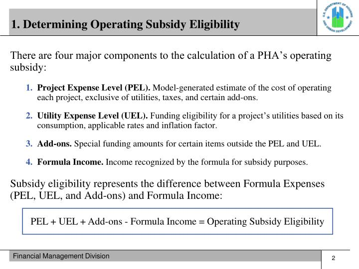 1. Determining Operating Subsidy Eligibility