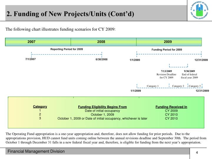 2. Funding of New Projects/Units (Cont'd)