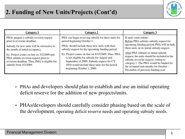 2. Funding of New Units/Projects (Cont'd)