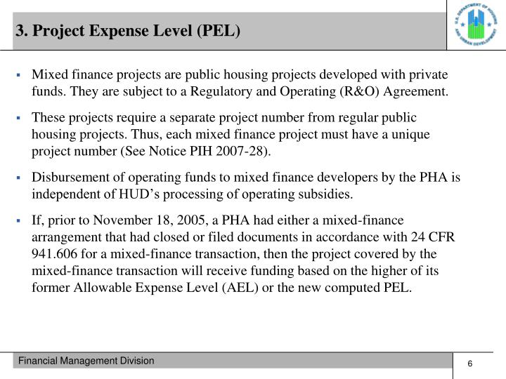 3. Project Expense Level (PEL)