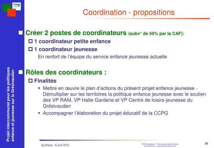 Coordination - propositions
