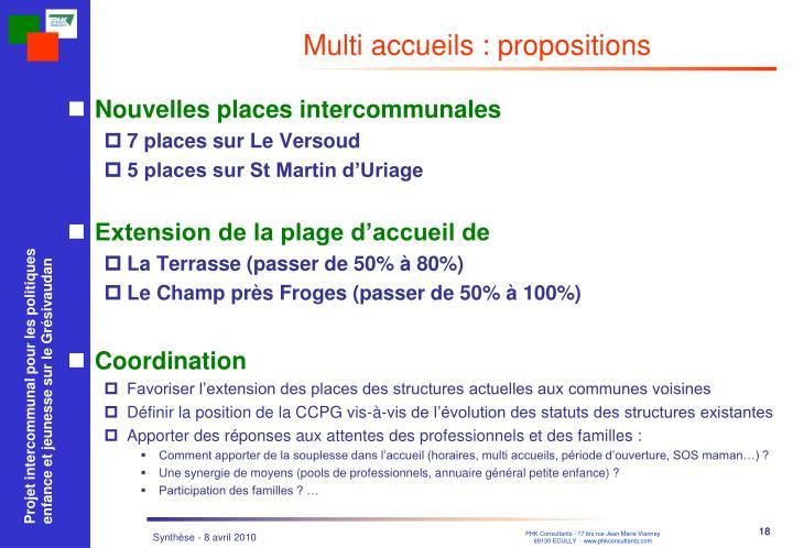Multi accueils : propositions