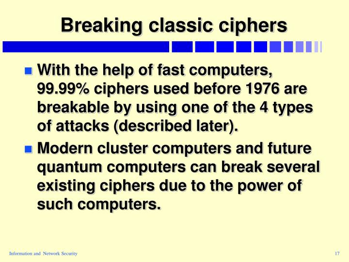Breaking classic ciphers