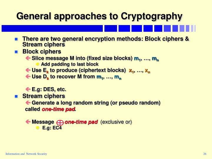 General approaches to Cryptography