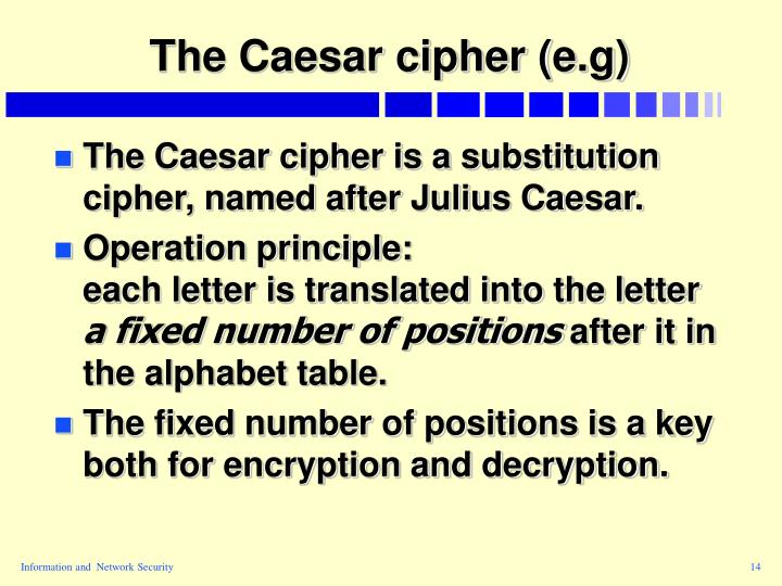 The Caesar cipher (e.g)