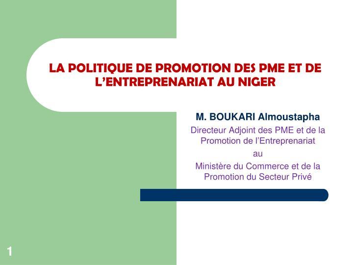 la politique de promotion des pme et de l entreprenariat au niger
