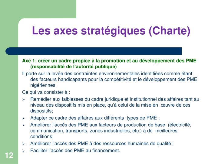 Les axes stratégiques (Charte)
