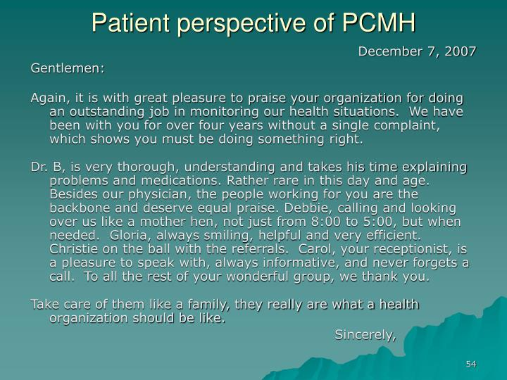 Patient perspective of PCMH