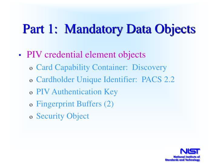 Part 1:  Mandatory Data Objects