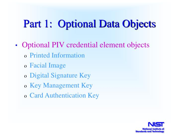 Part 1:  Optional Data Objects