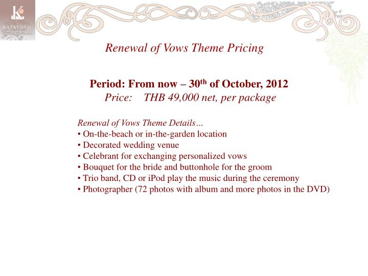 Renewal of Vows Theme Pricing