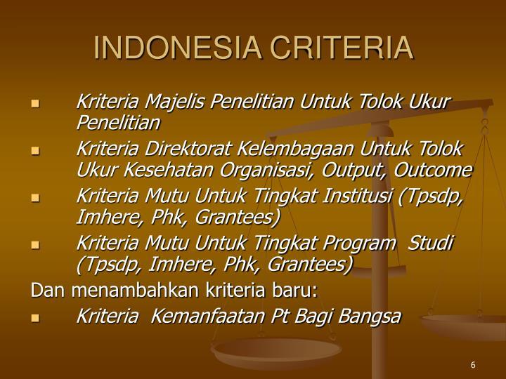 INDONESIA CRITERIA