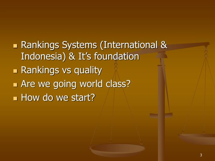Rankings Systems (International & Indonesia) & It's foundation