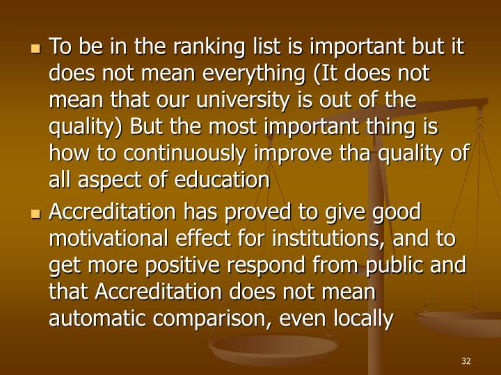 To be in the ranking list is important but it does not mean everything (It does not mean that our university is out of the quality) But the most important thing is how to continuously improve tha quality of all aspect of education