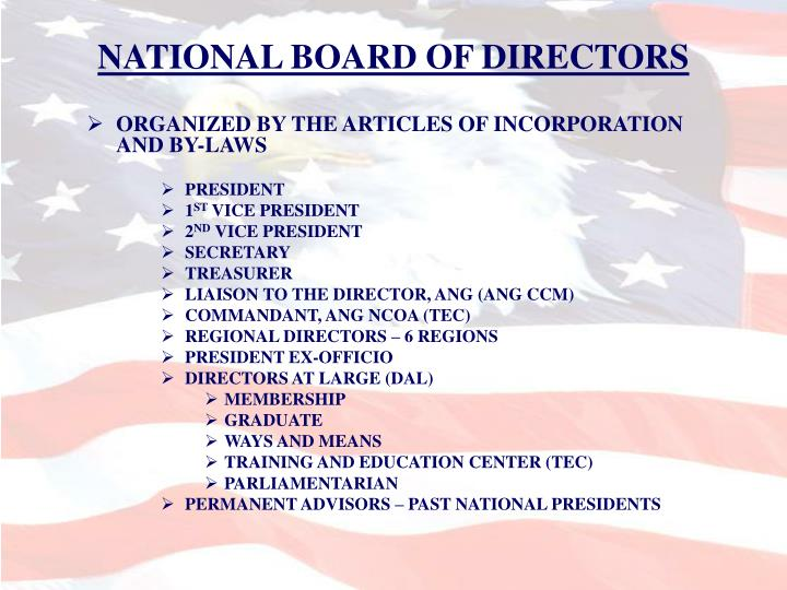NATIONAL BOARD OF DIRECTORS