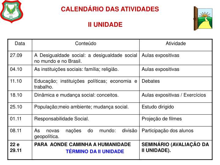 CALENDÁRIO DAS ATIVIDADES