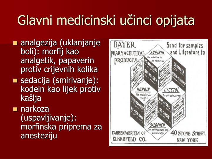 Glavni medicinski učinci opijata