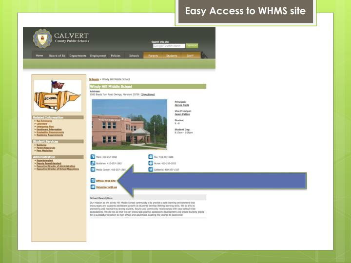 Easy Access to WHMS site