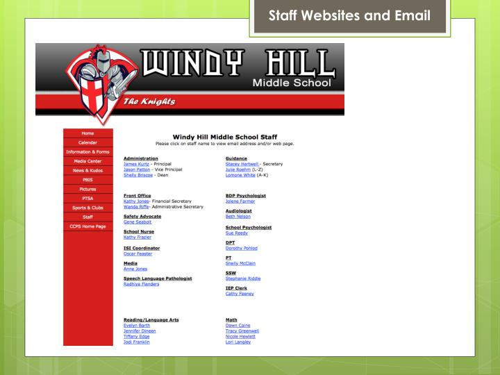 Staff Websites and Email