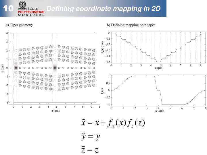Defining coordinate mapping in 2D