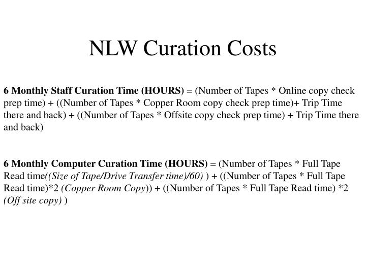 NLW Curation Costs