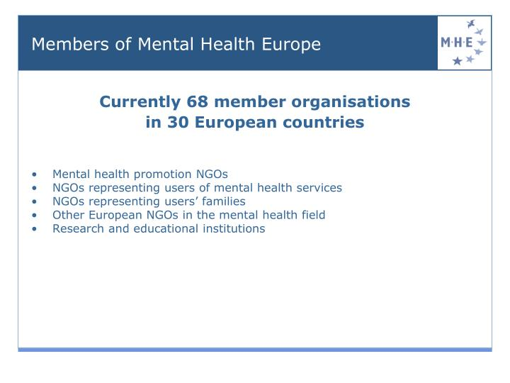 Currently 68 member organisations