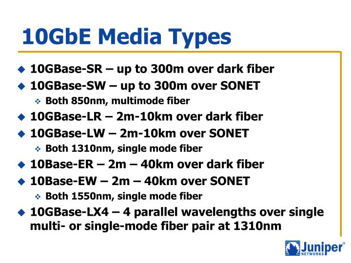 10GbE Media Types
