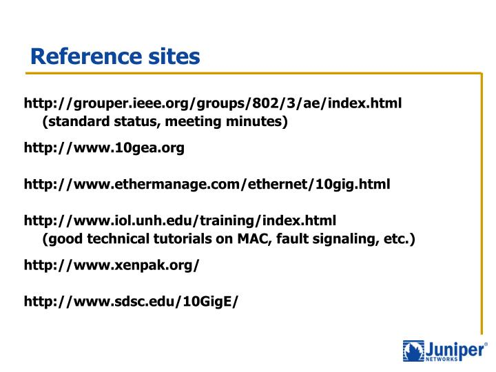 Reference sites
