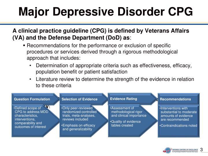 Major Depressive Disorder CPG