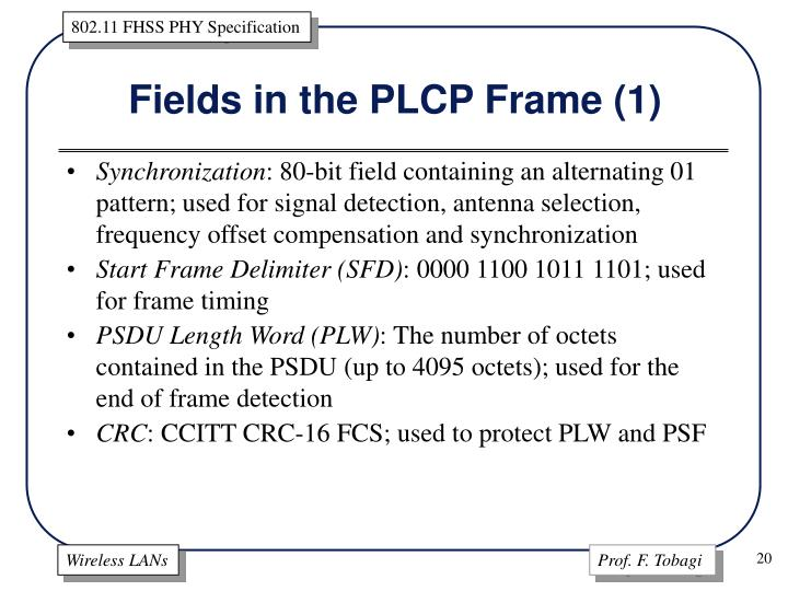 Fields in the PLCP Frame (1)