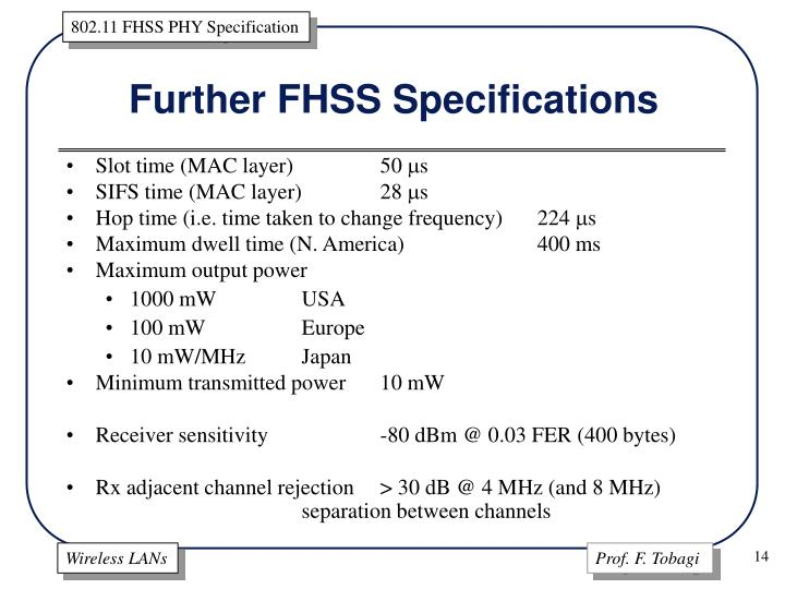 Further FHSS Specifications