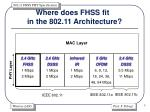 where does fhss fit in the 802 11 architecture