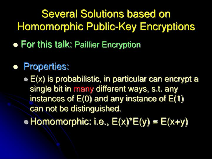 Several Solutions based on Homomorphic Public-Key Encryptions