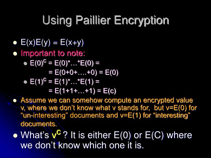 Using Paillier Encryption