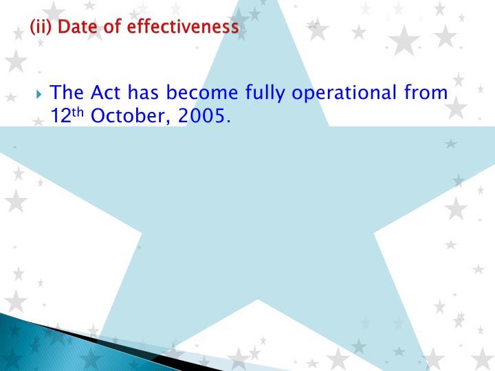 (ii) Date of effectiveness