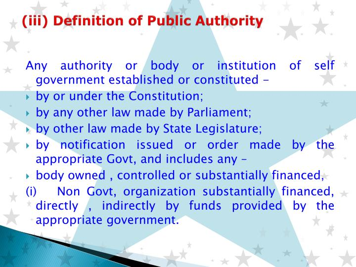 (iii) Definition of Public Authority