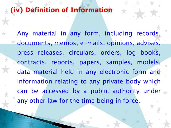 (iv) Definition of Information