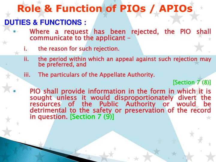 Role & Function of PIOs / APIOs