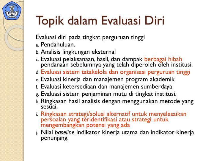 Topik dalam Evaluasi Diri