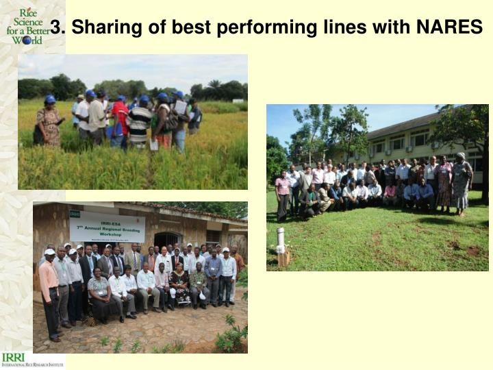3. Sharing of best performing lines with NARES