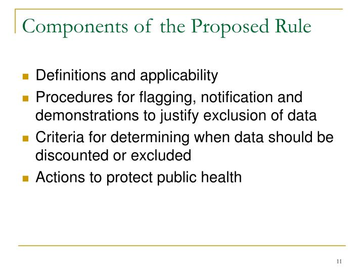 Components of the Proposed Rule