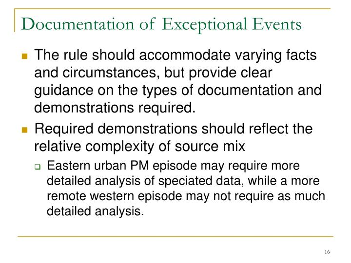 Documentation of Exceptional Events