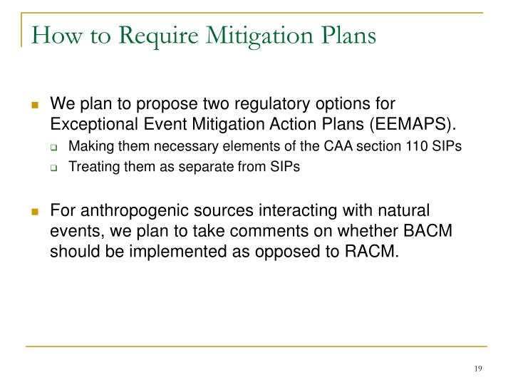 How to Require Mitigation Plans
