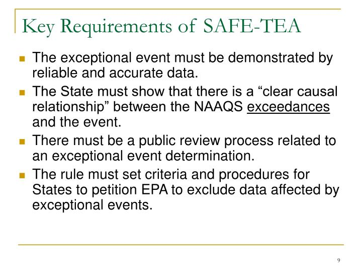 Key Requirements of SAFE-TEA